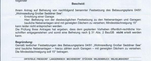 Ablehnung Gemeinde Michendorf
